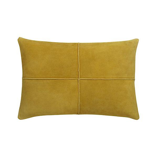 "Nesbit Yellow 18""x12"" Pillow with Down-Alternative Insert"