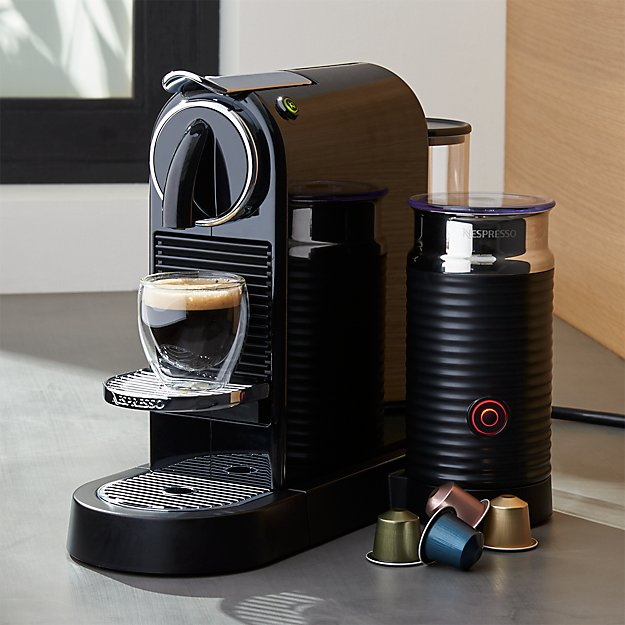 nespresso citiz black espresso machine with milk frother crate and barrel. Black Bedroom Furniture Sets. Home Design Ideas
