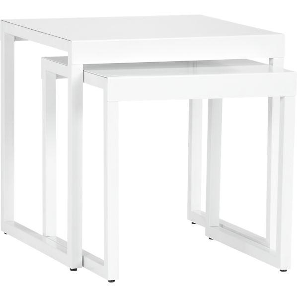 Set of 2 White Nesting Tables
