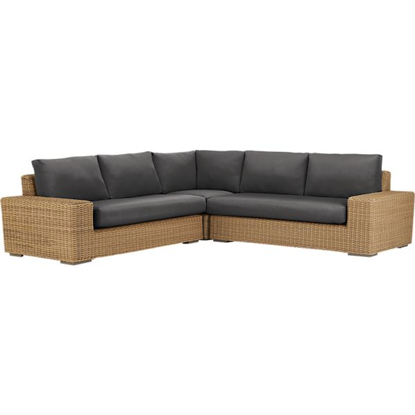 Newport 3-Piece Loveseat Sectional with Sunbrella ® Charcoal Cushions