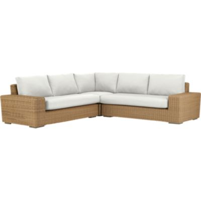Newport 3-Piece Loveseat Sectional with Sunbrella® White Sand Cushions