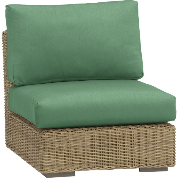 Newport Modular Armless Chair with Sunbrella ® Bottlle Green Cushions