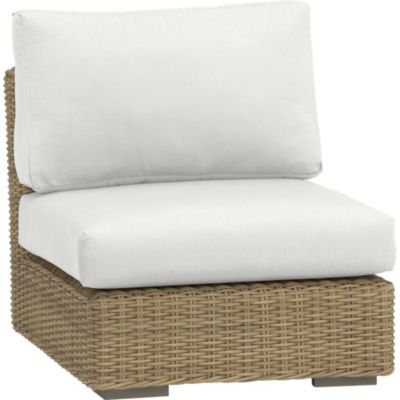 Newport Modular Armless Chair with Sunbrella® White Sand Cushions