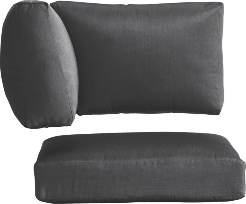 Chic charcoal cushions add a soft silhouette to our Newport lounge collection. Polyester-filled cushions are covered in fade-, water- and mildew-resistant Sunbrella® acrylic fabric.<br /><br /><NEWTAG/><ul><li>Fade- and mildew-resistant Sunbrella® acrylic</li><li>100% polyester fill</li><li>Cover or store inside during inclement weather</li><li>Spot clean</li><li>Made in USA</li></ul>