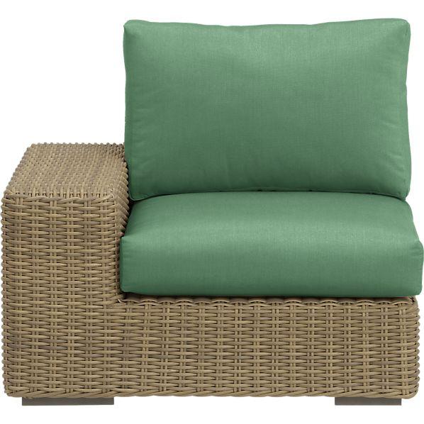 Newport Modular Left Arm Chair with Sunbrella ® Bottle Green Cushions