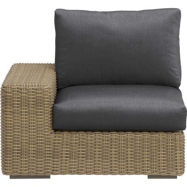 Newport Modular Left Arm Chair with Sunbrella ® Charcoal Cushions