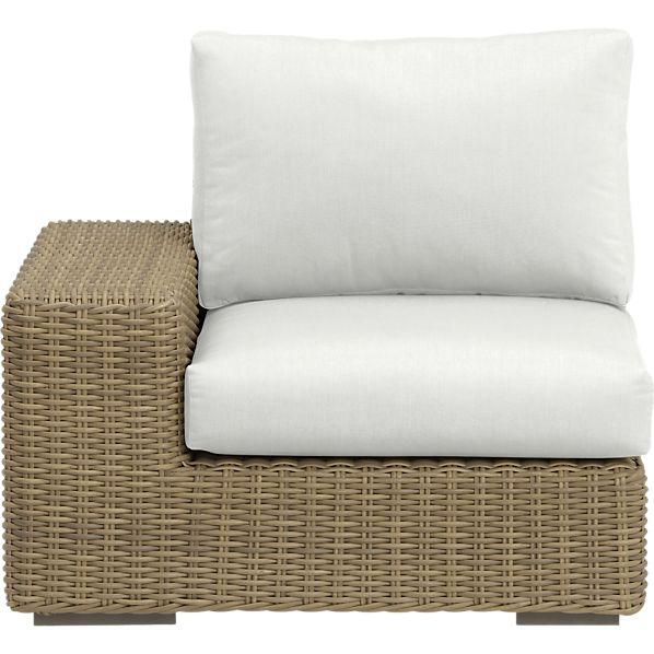 Newport Modular Left Arm Chair with Sunbrella ® White Sand Cushions