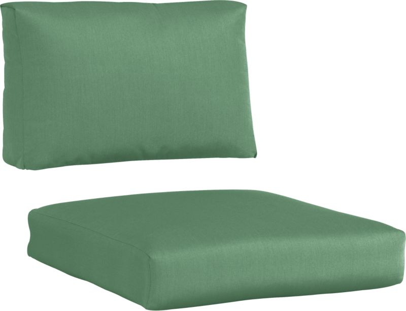 Bottle green cushions add a soft silhouette to our Newport lounge collection. Polyester-filled cushions are covered in fade-, water- and mildew-resistant Sunbrella® acrylic fabric.<br /><br /><NEWTAG/><ul><li>Solution-dyed Sunbrella® acrylic</li><li>100% densified polyester with polyester-wrapped fill</li><li>Fade- and mildew-resistant fabric</li><li>Zipper opening for ventilation only</li><li>Outdoor furniture covers recommended</li><li>Spot clean</li><li>Made in USA</li></ul>