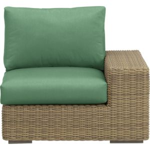 Newport Modular Right Arm Chair with Sunbrella® Bottle Green Cushions
