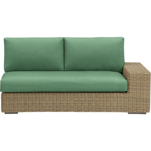 Newport Modular Right Arm Loveseat with Sunbrella ® Bottle Green Cushions