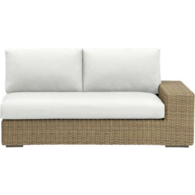 Newport Modular Right Arm Loveseat with Sunbrella® White Sand Cushions