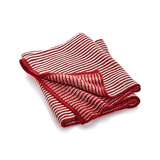 Nicholas Red/White Striped Throw