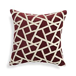 "Nikko Wine Red 16"" Pillow with Feather-Down Insert"