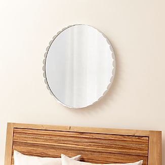 Ninna White Round Wall Mirror