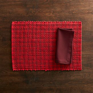 Noelle Placemat and Fete Zinfandel Cotton Napkin