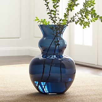 Nona Blue Glass Floor Vase