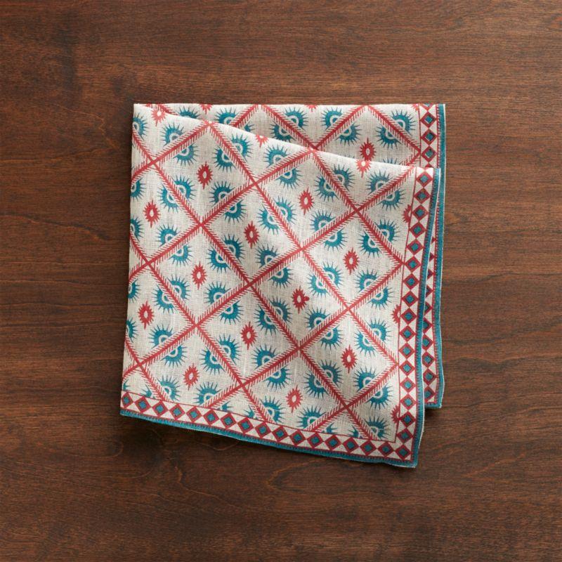 Cotton napkin trellises intricate and ethnic in festive green and red pattern.<br /><br /><NEWTAG/><ul><li>100% cotton</li><li>Machine wash cold, dry flat; warm iron as needed</li><li>Made in India</li></ul>