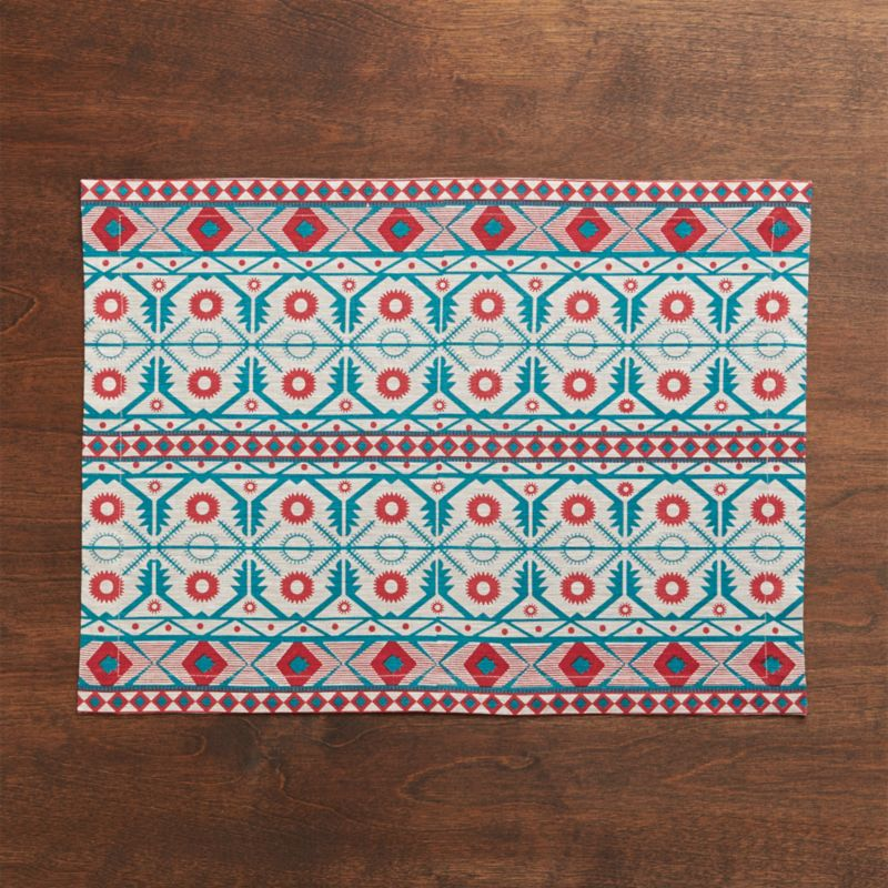 Cotton placemat trellises intricate and ethnic in festive green and red pattern.<br /><br /><NEWTAG/><ul><li>100% cotton</li><li>Machine wash cold, dry flat; warm iron as needed</li><li>Made in India</li></ul>