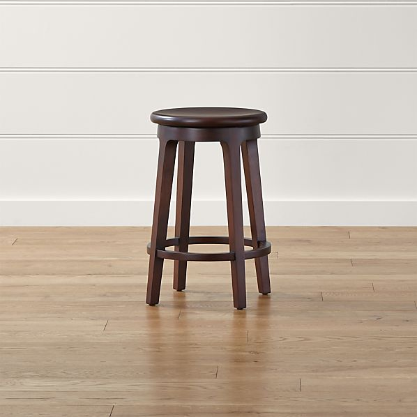 Nora Swivel Backless Wood Counter Stool