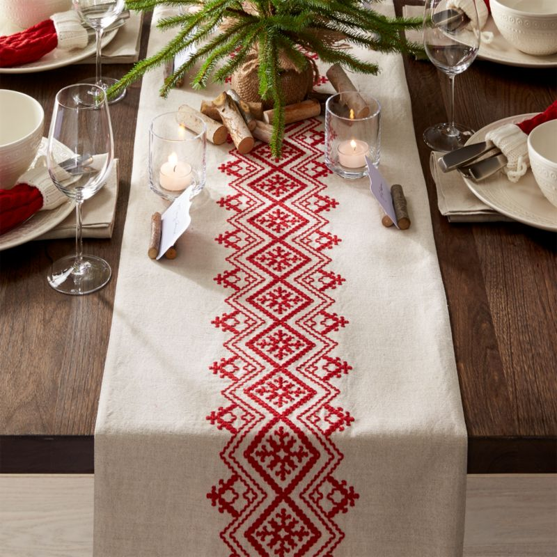 Nordic Embroidered Table Runner