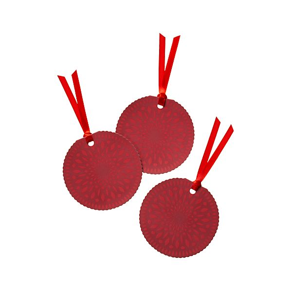 Set of 3 Tonal Red Nordic Snowflake Gift Tags