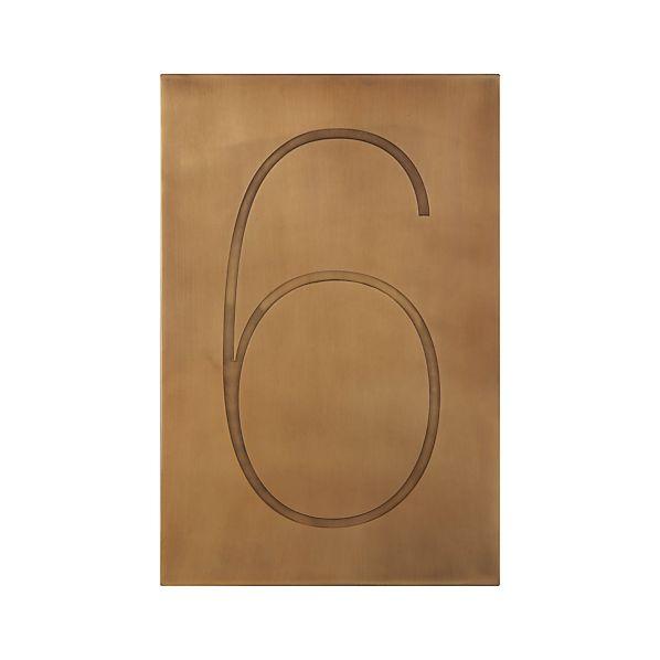Brass Number 6 Wall Art