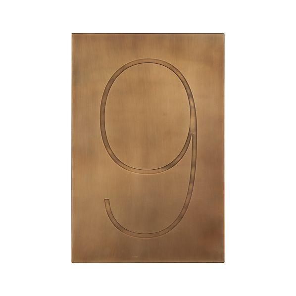 Brass Number 9 Wall Art