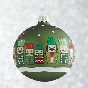 Green Nutcracker Ball Ornament