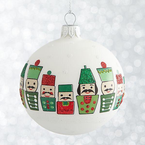 White Nutcracker Ball Ornament