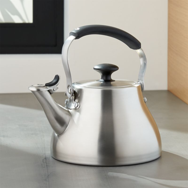 Oxo classic brushed stainless steel tea kettle crate for Furniture xo out of business