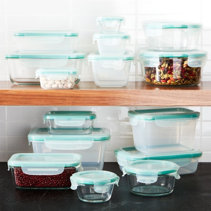 Oxo 174 Snap 30 Piece Glass Plastic Storage Set Crate And