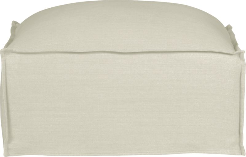 "Slipcover for Oasis Ottoman is 100% linen tailored fresh with a fashionable flanged edge and casual drape at the floor.<br /><br />Additional <a href=""http://crateandbarrel.custhelp.com/cgi-bin/crateandbarrel.cfg/php/enduser/crate_answer.php?popup=-1&p_faqid=125&p_sid=DMUxFvPi"">slipcovers</a> available below and through stores featuring our Furniture Collection.<br /><br />After you place your order, we will send a fabric swatch via next day air for your final approval. We will contact you to verify both your receipt and approval of the fabric swatch before finalizing your order.<br /><br /><NEWTAG/><ul><li>100% linen</li><li>Dry cleaning recommended</li><li>Made in North Carolina, USA of domestic and imported materials</li></ul>"
