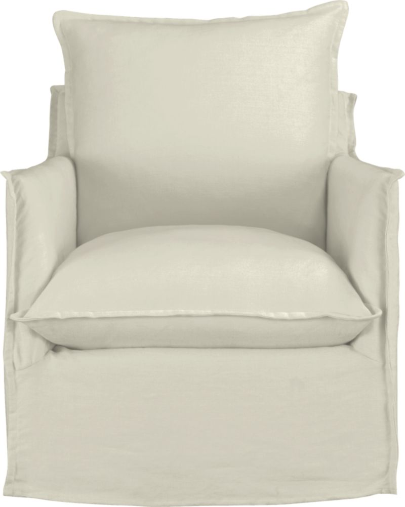"""Slipcover for Oasis Swivel Chair is 100% linen tailored fresh with a fashionable flanged edge and casual drape at the floor.<br /><br />Additional <a href=""""http://crateandbarrel.custhelp.com/cgi-bin/crateandbarrel.cfg/php/enduser/crate_answer.php?popup=-1&p_faqid=125&p_sid=DMUxFvPi"""">slipcovers</a> available below and through stores featuring our Furniture Collection.<br /><br />After you place your order, we will send a fabric swatch via next day air for your final approval. We will contact you to verify both your receipt and approval of the fabric swatch before finalizing your order.<br /><br /><NEWTAG/><ul><li>100% linen</li><li>Dry cleaning recommended</li><li>Made in North Carolina, USA</li></ul>"""