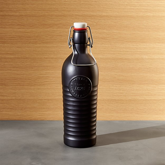 Officina 1825 Matte Black Glass Swing Top 40 oz. Bottle