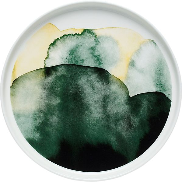 Marimekko Oiva Green and White Plate