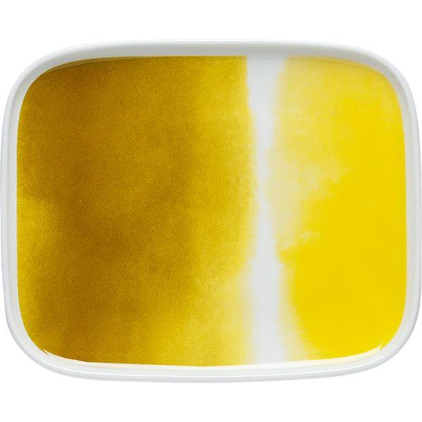 Marimekko Oiva Yellow and White Rectangular Plate