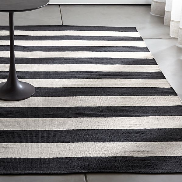 Olin Black Striped Cotton Dhurrie Rug