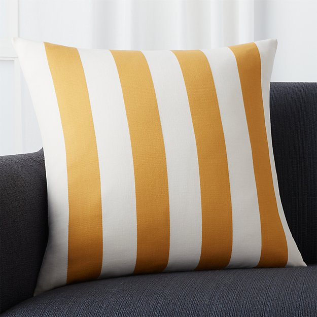 "Olin Ivory-Gold Striped 20"" Pillow with Feather-Down Insert"