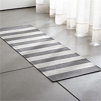 Olin Grey Striped Cotton Dhurrie 2 X6 Rug Runner
