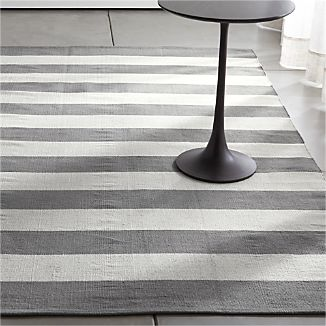 Olin Grey Striped Cotton Dhurrie Rug