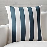 "Olin 20"" Ivory-Indigo Blue Striped Pillow with Feather-Down Insert."