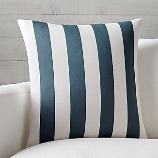 "Olin 20"" Ivory-Indigo Blue Striped Pillow"