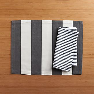Olin Graphite Placemat and Liam Grey Stripe Linen Napkin
