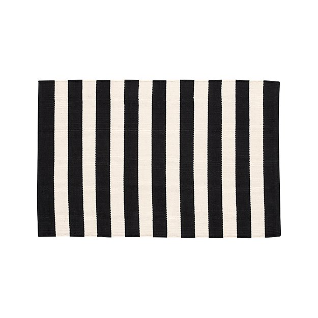 Olin Black Striped Cotton Dhurrie 2'x3' Rug