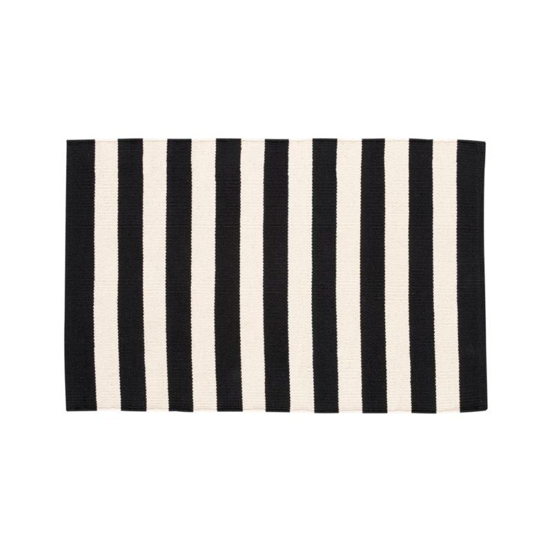 Olin Black Striped Cotton Dhurrie 2'x3' Rug