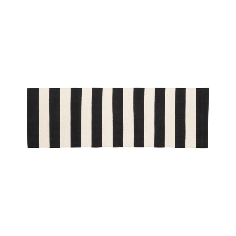 Olin Black Striped Cotton Dhurrie 2'x6' Rug Runner