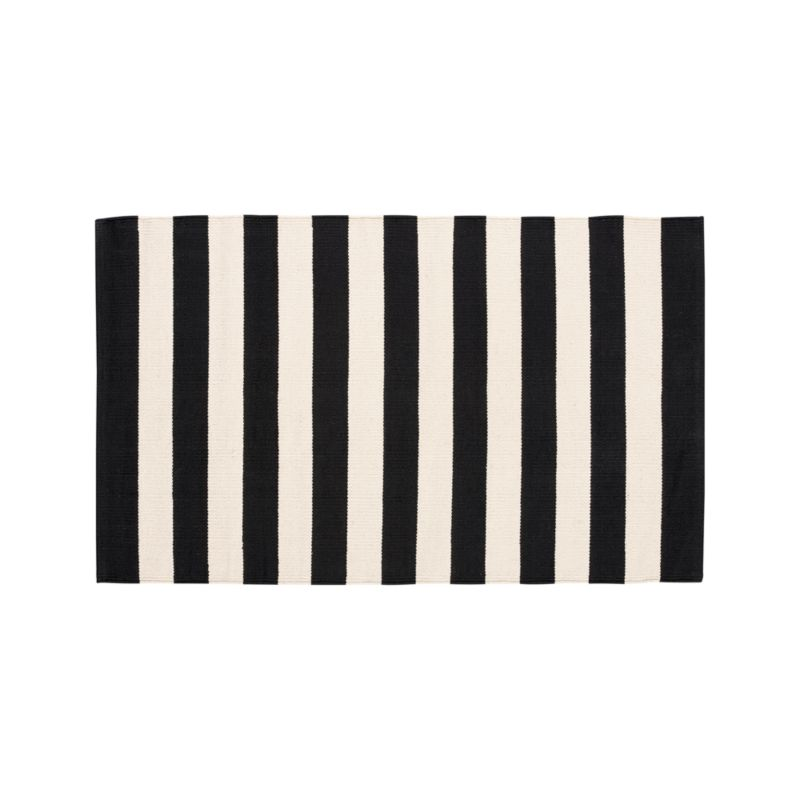 "Olin Black Striped Cotton Dhurrie 30""x50"" Rug"