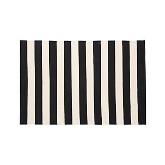 Olin Black Striped Cotton Dhurrie 4'x6' Rug