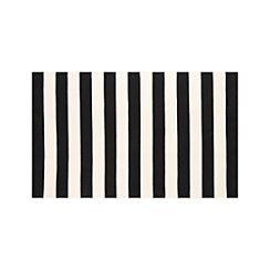 Olin Black Striped Cotton Dhurrie 5'x8' Rug