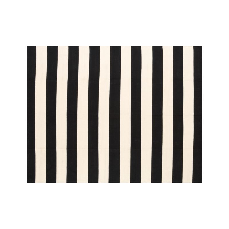 Olin Black Striped Cotton Dhurrie 8'x10' Rug